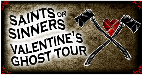 Saints or Sinners Valentine's Ghost Tour. Illustration of two crossed axes with a creased heart between them.