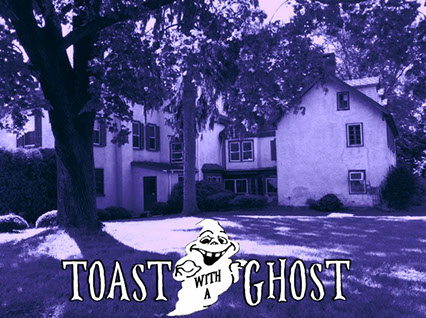 "Image of Brinton Lodge with ""Toast with a Ghost"" across the bottom. A drawing of a ghost appears in the middle of the text."
