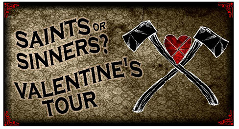 Saints or Sinners Valentine's Tour at Brinton Lodge. Illustration of two crossed axes with a creased heart between them.
